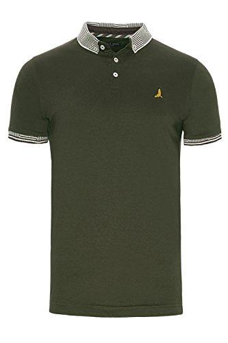 Brave Soul Herren Blusen Poloshirt, Einfarbig grün grün Khaki - Green
