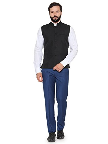 Rico Sordi Men's Cotton Silk Nehru Ethnic Jacket (Black Nehru Ethnic Jacket...
