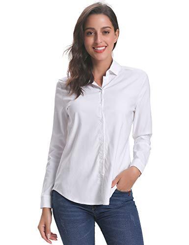 Abollria camicia donna elegante a manica lunga blusa basic con chiusura a bottoni camicetta ideale per ufficio scuola e lavoro colloquio.