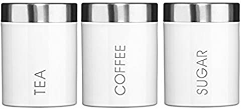 Kabalo Set of 3 White Tea Coffee & Sugar Canisters Kitchen Storage Containers Jars Pots (10cm x 12cm each)