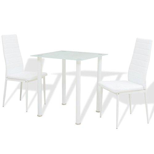 Balkon Möbel Set, Essgruppe Esstisch | Bistrotisch mit 4 Stühlen | Balkonmöbel | Stahlgestell Poly-Rattan Glasplatte | Gartenmöbel Set | Weiß