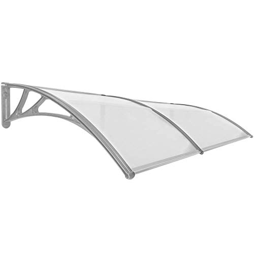 Primematik - pensilina 200x100cm in policarbonato per porta o finestra per esterno grigio