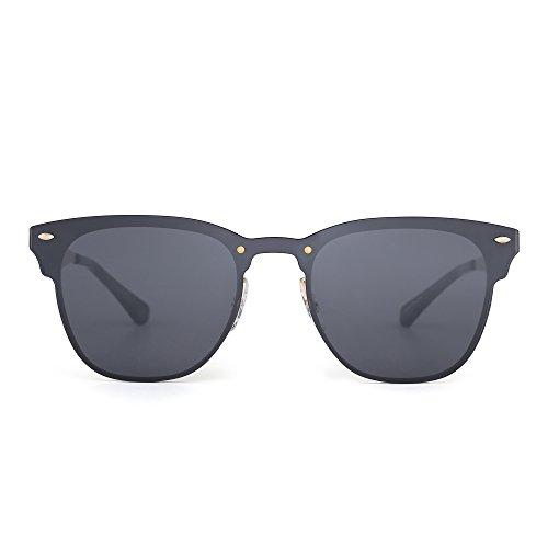 JIM HALO Randlos Sonnenbrille Ein Stück Gehörnt mit Rand Metall Gespiegelt Damen Herren(Gold/Grau)