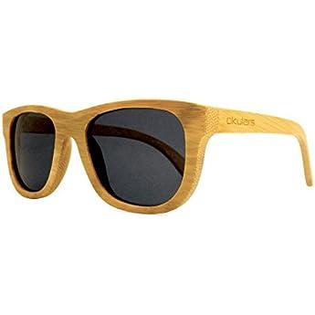 Okulars® Natural Bamboo Coal Black - Occhiali da Sole in Legno di Bambù Naturale Uomo e Donna, Fatti a Mano - Taglia Unica - Lenti Polarizzate Nere - Protezione UV400 - Cat.3 (Nero)