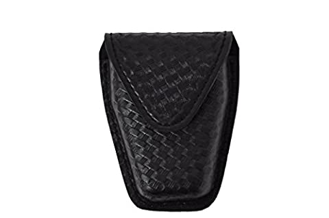 Safariland Model 190 Handcuff Case With Top Flap And Tapered Bottom, Black, STX Basketweave With Hidden Snap, For Standard Handcuffs