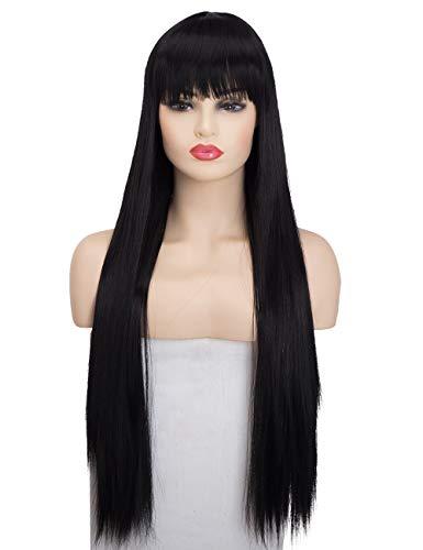 Aysan 28 Zoll lange gerade schwarze Perücken mit Pony für Frauen Alltag oder Cosplay Kostüm(EINWEG) (Schwarz Kostüm Perücken Für Verkauf)