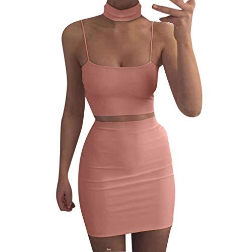 Halfter Krawatte Hals Mini Kleid (HET Frauen Sexy Anzug Rock Slim Fit Sommer Zweiteiler Crop Top und Pack Hüften Röcke Taille Bodycon Anzug)