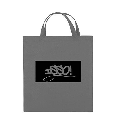 Comedy Bags - ISSO NEGATIV - Jutebeutel - kurze Henkel - 38x42cm - Farbe: Schwarz / Pink Dunkelgrau / Schwarz