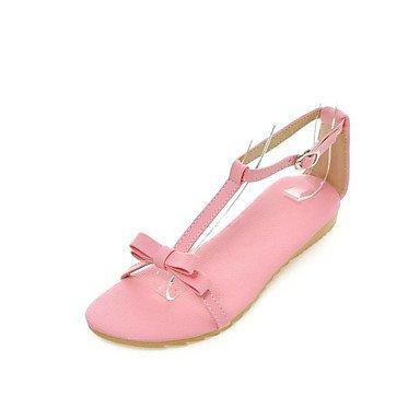 Sandales femmes semelle confort d'été la lumière des matériaux sur mesure robe en simili cuir Talon plat décontracté Bowknot BuckleBlushing avec ruban rose Blushing Pink
