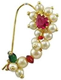 Orniza Pink Brass Multistrand Nose Ring for Women