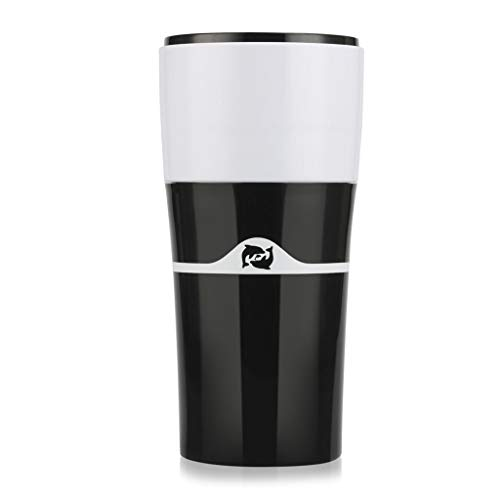 Chiic Tasse für Kaffee-Hersteller, tragbar, manuell, kompatibel mit K-Cup, wiederaufladbar, Reise, Camping, im Freien, warm und kalt, schwarz/weiß, 3.15x7.09x2.76in