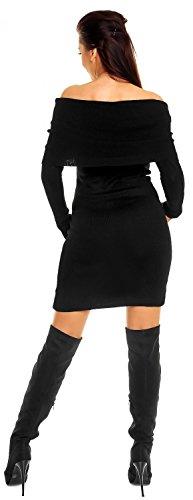 Zeta Ville - Robe en maille encolure Bardot Robe moulante à rayures - femme 887z Noir