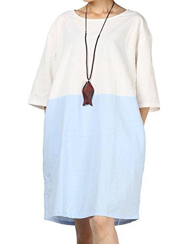 Mallimoda Damen 3/4 Arm Stitching Tunika Beiläufiges Oversize Oberteil Kleid T-Shirt Hellblau ()