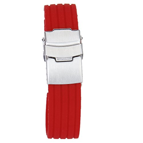 Generic - 22mm caucho de silicona watch band correa hebilla del despliegue impermeable --- rojo