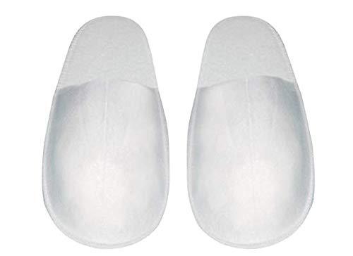 Kickkick® 10 paia di pantofole - ciabatte antiscivolo monouso chiuse in spugna - taglia unica - imbustate al paio - per ospiti, hotel e spa - colore bianco - morbide con fondo rialzato impermeabile