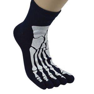 Mens' Five Toes Socks Skull Skeleton Pattern mens US Size 7.5-10.5 BLACK