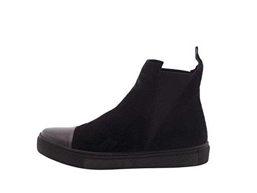 FRAU 39B2 schwarze Schuhe Frau elastische Wildleder Stiefel beatles Nero