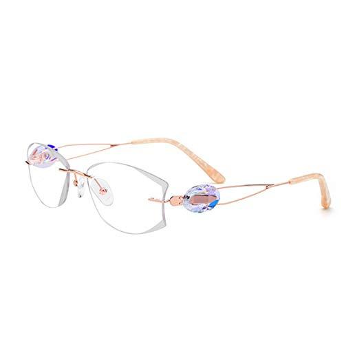 Yiph-Sunglass Sonnenbrillen Mode Leichte Frauen Pure Titan Business Brille Hohe Qualität Frameless Stil Kristall Dekoration Klare Linse Freizeit Brillen. (Farbe : White)