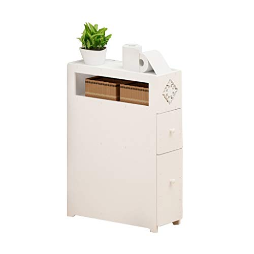 Bad-boden-schrank (Stand-Bücherschrank Boden Schrank Bad wc nebenschrank wc waschbecken Schrank wc schließfach wasserdichte schließfach Schränke (Color : Weiß, Size : 45 * 20 * 66cm))