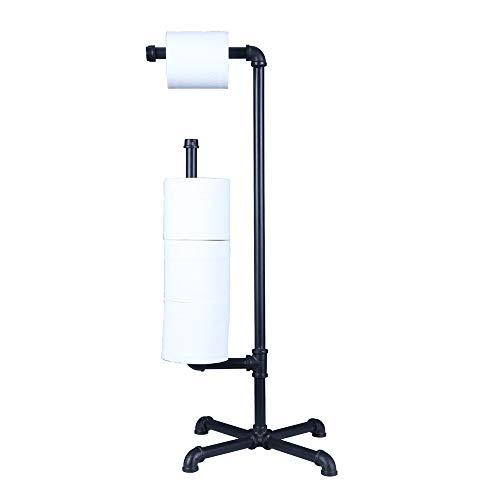 OROPY Toilettenpapierhalter Stehend, WC Papierhalter im Industrie-Design, Freistehend, 4 Rollenlagerung, für Badezimmer, Retro rustikales Dekor