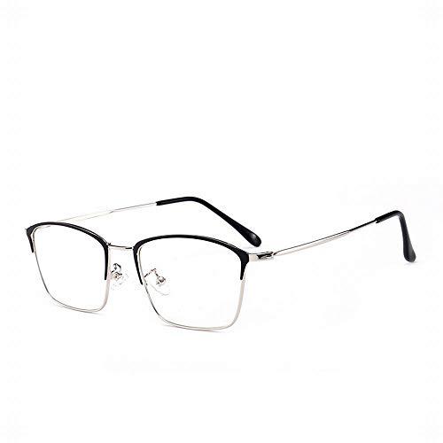 WULE-RYP Polarisierte Sonnenbrille mit UV-Schutz Vintage Square Brillengestell Brillen ohne Brille Brillen klare Brillen. Superleichtes Rahmen-Fischen, das Golf fährt (Farbe : Black/Silver Frame)