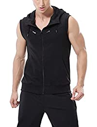 Hombre Camiseta Activo Casual Moda Ligero Sin Mangas Zip Chic Up Deporte Fitness Chaleco Tank Hoodies