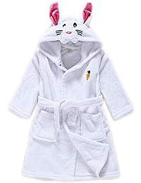 Albornoz con Capucha de Baño Ropa de Dormir de Franela Calentar Albornoces Animales Pijamas 3-