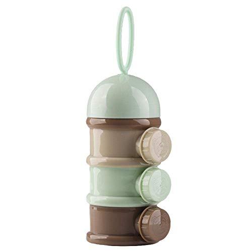 Arteki Portable Formula Dispenser,Portable BPA Free Baby Milk Powder Dispenser & Snack Storage Container,Three Compartments Design,No Powder Leakage (Khaki) - Powder Formula Dispenser