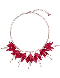 TED BAKER- FAWNA: FUCHSIA DROP FLOWER NECKLACE ROSE GOLD/FUCHSIA