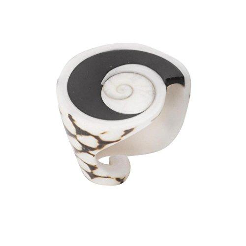 81stgeneration Shell Natural White Leopard Spiral Shiva Eye Conch Ring Size 11