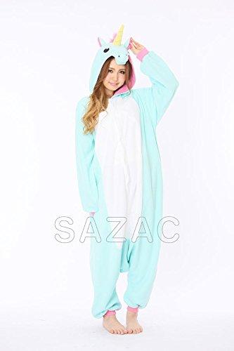 Tieroutfit, Schlafoverall, Kostüm, Hausanzug, Jumpsuit, Strampler Erwachsene Funzee FUNZOO (Blaues Einhorn) (Einfache Fabelwesen Kostüme)