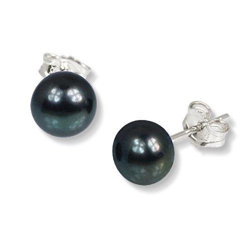 SilberDream Damen-Ohrstecker Süßwasser-Zuchtperle Qualität AA schwarz 8mm 925 Sterling Silber SDO108S (Süßwasser Schwarz Perle Ring)