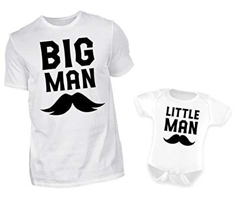 k Tshirt Baby Body Strampler Set Big Man Little Man Rundhals Vater Sohn Partner Outfit (XL & 6-12 Monate) ()