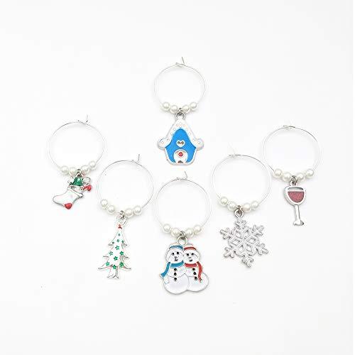 """Weinglasanhänger-Set """"Weihnachten"""" , Glasmarkierer, Weinglas Anhänger, Weinglasmarker, Markierer für Weingläser, Wine Glass Charms """"Christmas"""", Wine Glass Marker in einer Geschenkbox, 6 Stück"""