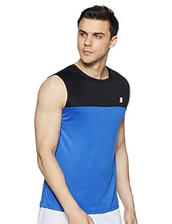 Amazon Brand - Symactive Men's Color Block Regular Fit Sleeveless Sports T-Shirt