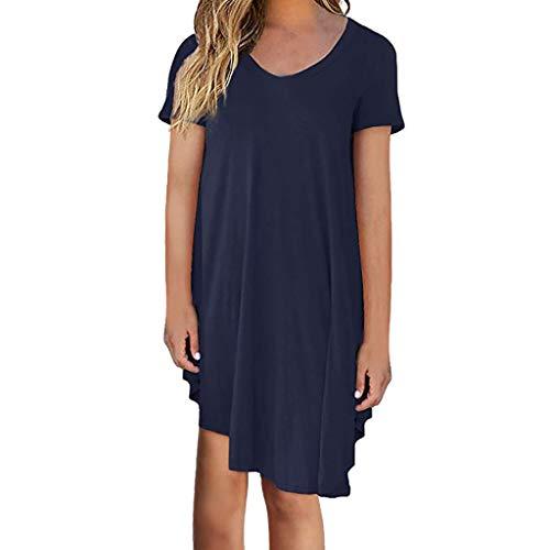VEMOW Damenmode Tasche Lose Kleid Damen Rundhalsausschnitt beiläufige Tägliche Lange Tops Kleid Plus Größe(Z1-Marine, EU-42/CN-S)