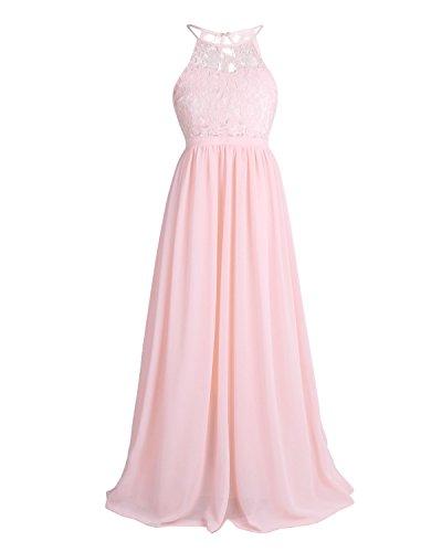 ädchen Kleider Lange Brautjungfern Kinder Kleider Hochzeit Party Prinzessin Blumenmädchen Kleid Gr. 104-176 Perle Rosa 152-164 ()