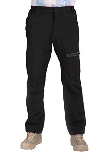 Geval Outdoor randonnée Pantalon homme Softshell Polaires Pantalons de neige de ski Noir