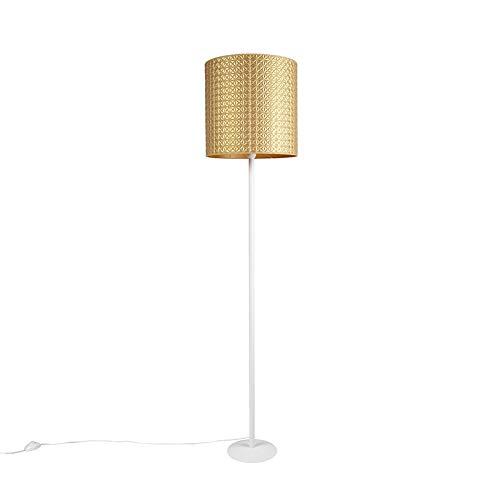 QAZQA Art Deco/Modern/Retro Vintage Stehleuchte/Stehlampe/Standleuchte/Lampe/Leuchte weiß mit Gold/Messingenem Schirm und geometrischem Muster 40cm - Simplo/Innenbeleuchtung/Wohnzimmer