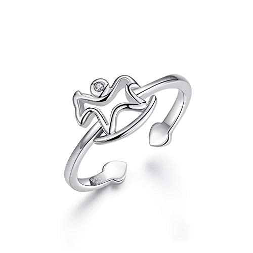 HSUMING Pegasus Ring Simple 925 Sterling Silver Zircon Open Ring for Women Girls -