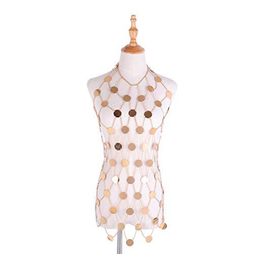 RL Damen Sequin Body Chain Nachtclub Casual Hand übertrieben Fischernetz Acryl Kleid Taille Kette,Gold-OneSize
