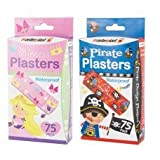 150 Waterproof Plasters/2 packs, 75 Princess 75 Pirate