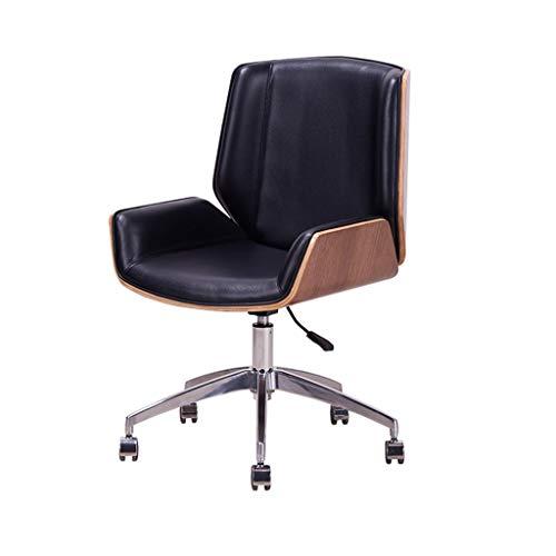 ZIJUAN Design Drehstuhl Retro Dining Chair Style Küchenstuhl Bürostuhl Retro Modern Lounge Chair Sofa Mit Rückenlehne - Schwarz (Lounge Chair Ottoman)