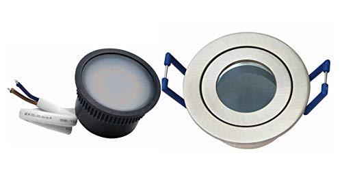 5 x Led Flat flach klein Feuchtraum Einbaustrahler nm IP44 35mm rund mit warmweißer Led 230V