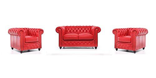 Original Chesterfield Sofa und Sessel – 1 / 1 / 2 Sitzer – Vollständig Handgewaschenes Leder – Rot