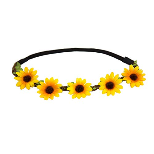 men Haarband Stirnband Blumenkranz Haarschmuck Kopfschmuck Bohemia Style Mädchen Damen - Farbe Wählbar (Gelb) ()
