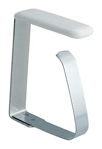 Home Xpert 4er Set Tischtuchklammern, Tischdeckenklammern, Tischtuchhalter aus Edelstahl für Tischplatten bis 45 mm - Edelstahl Tischplatte