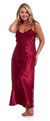 Satin Chemise Lace Ladies Nightie Full Length Nightdress Silky Negligee UK Made!