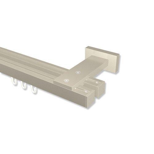 Interdeco Innenlauf-Gardinenstangen eckig Satin-Silber doppelläufig 20x20 mm Quadline Sono, 120 cm