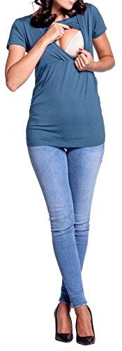 Happy Mama. Damen Umstandsmoden Top Stillshirt Lagendesign Empire-Taille. 790p Blau Grau